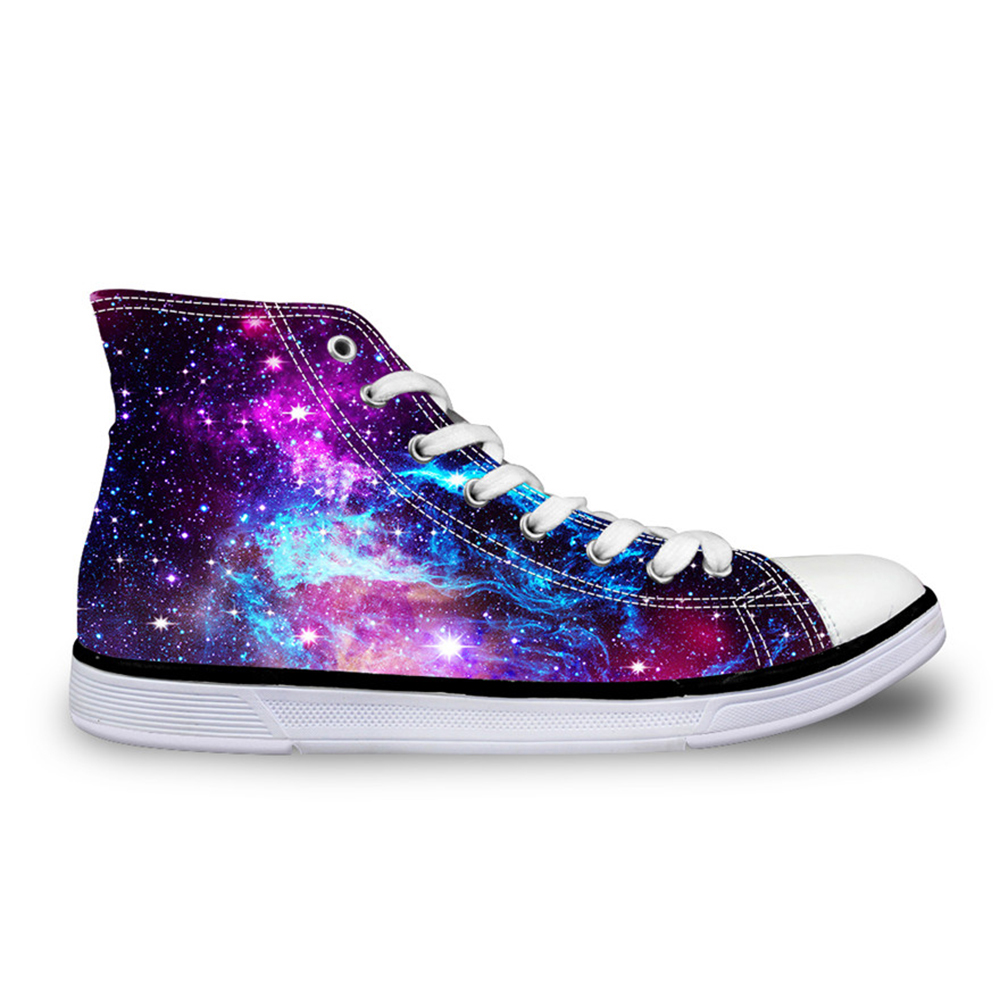 Customized Fashion Women Casual Galaxy Shoes Vulcanized High-Top Canvas Shoes Ladies Flat Lace-up Shoes for Girl Tenis Feminino