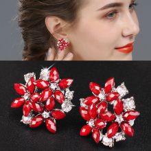X&P Luxury Fashion crystal rhinestone stud earrings 3 flower red blue black earrings for Women Girl Ladies Jewelry Gift