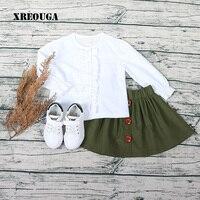 2017 Autumn Baby Girls Cute Clothes Set White O Neck Long Sleeve Blouse Green Skirt Set