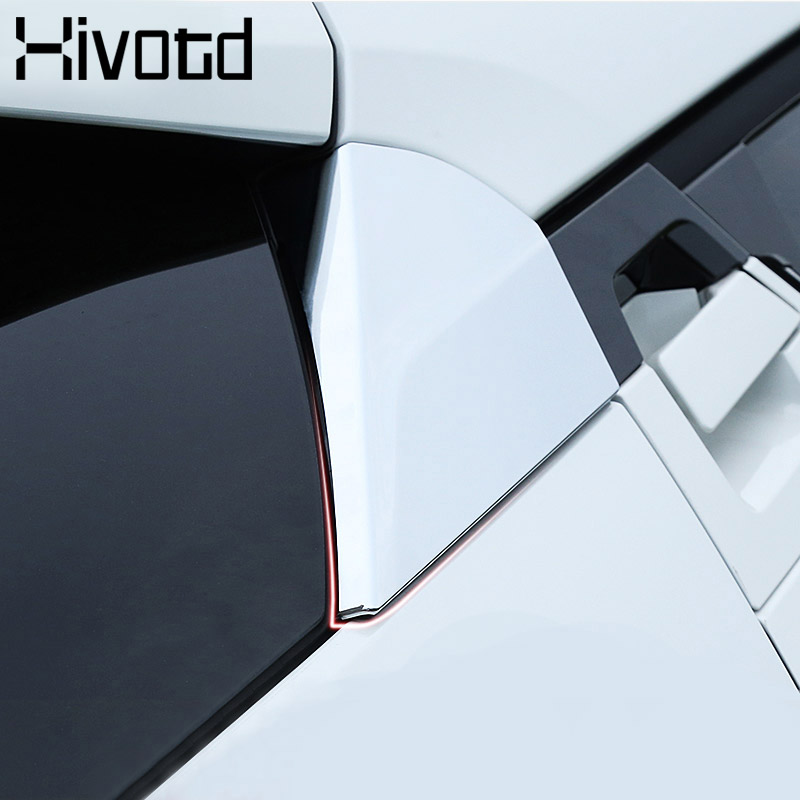 Hivotd For Toyota C HR CHR Accessories Carbon Fiber Rear Side Window Triangle Trim Cover Side Wing Spoiler Sticker Exterior trim in Chromium Styling from Automobiles Motorcycles