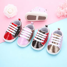 Baby Shoes Pu Leather Shoes Sports Sneakers Newborn Baby Boys Girls Stripe Pattern Shoes Infant Toddler Soft Anti-slip Shoes(China)