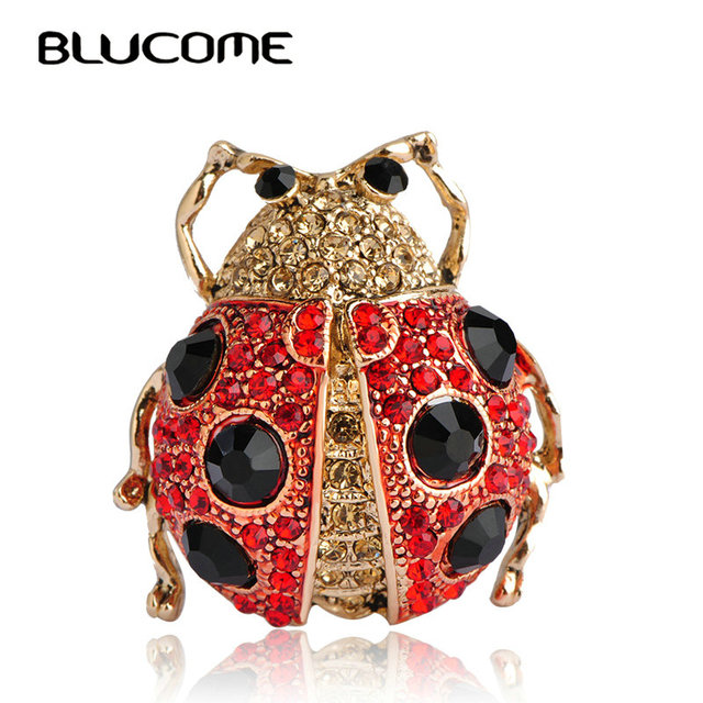 Blucome Cystal Ladybug Brooches For Women Men Red Beatles Brooch Collar Clip Apparel Accessories Animal Insects Big Hijab Pins