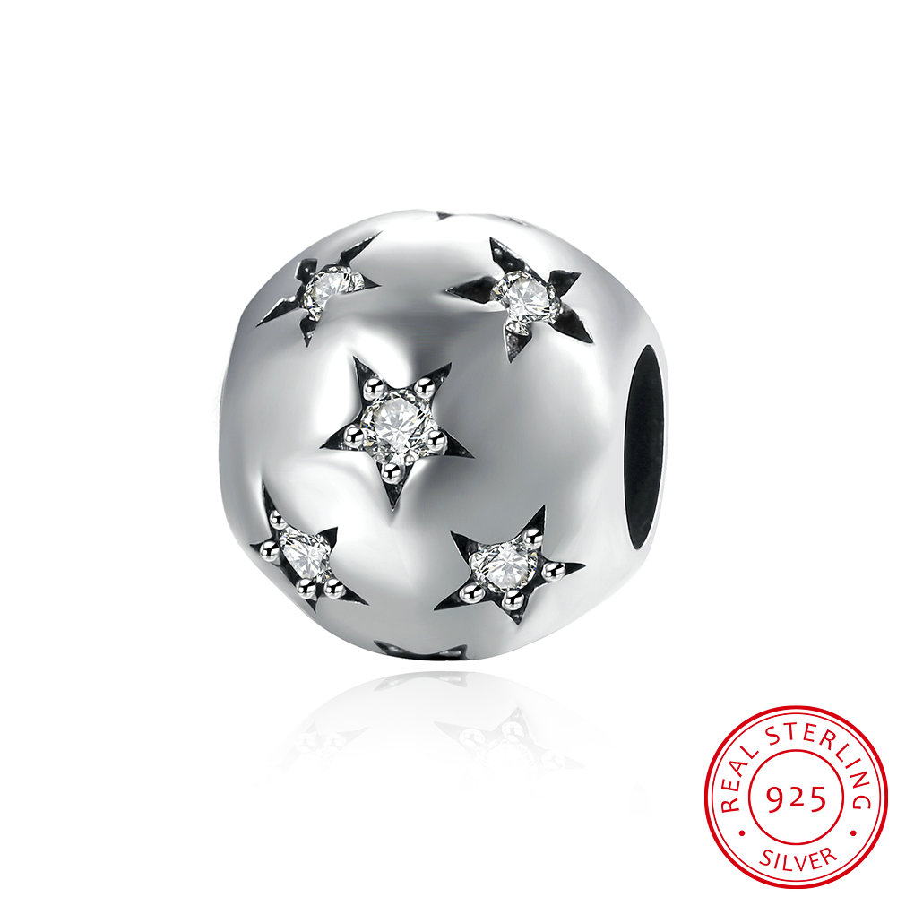 925 Sterling Silver Bead for Charm with Five-pointed Star Pentagram Crystal Beads Bracelet for Women & Men Jewelry