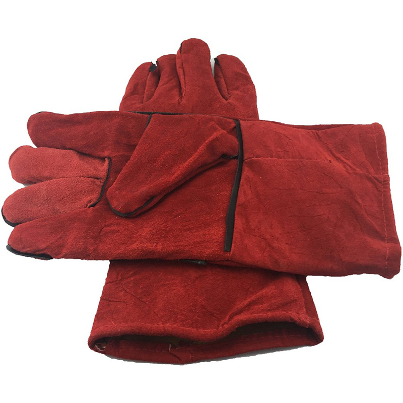 Leather Gloves Dark Red Fireplace Stove Cleaning Gloves Welds Seams Long-Lined Welding Glove Are Extremely Warm 43.6x17.5x3cm