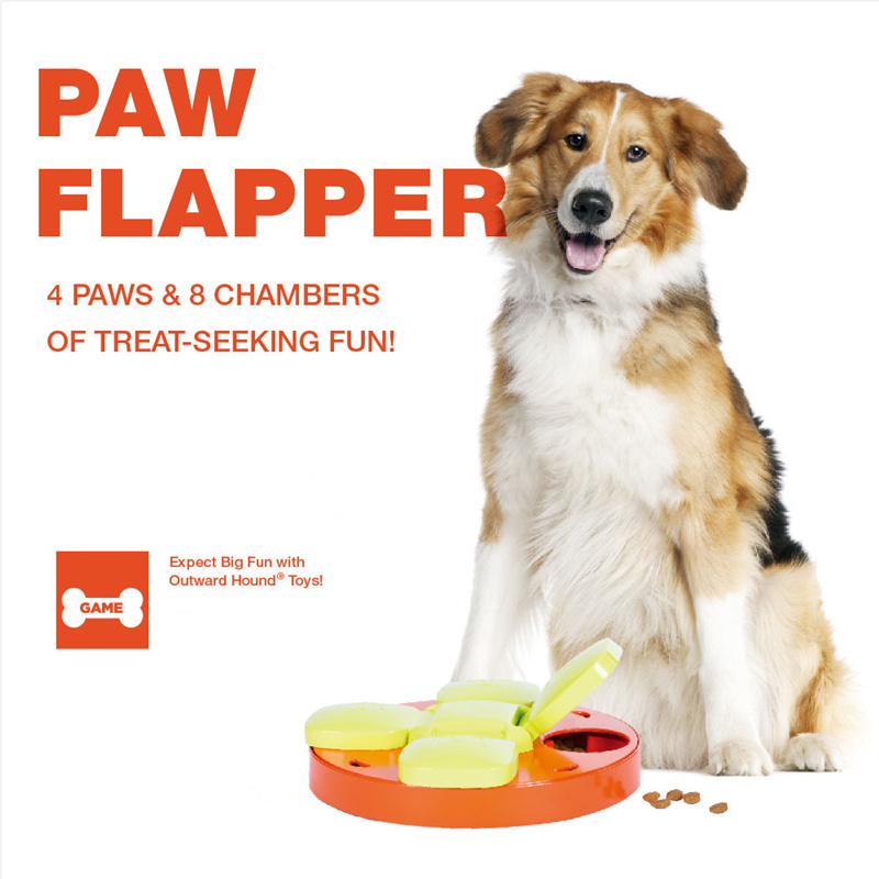 Pet Dog Paw Flapper Toy Puppy Dog Interactive Educational Food Snack Feeder with 4 Treat-hiding Flaps Treat-Seeking Game Toy