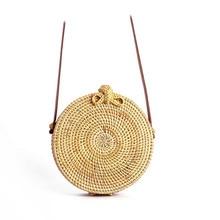 Circle Rattan bag shoulder Beach Bag Round natural Woven Straw Women Boho small Bali messenger Summer 2019 drop shipping