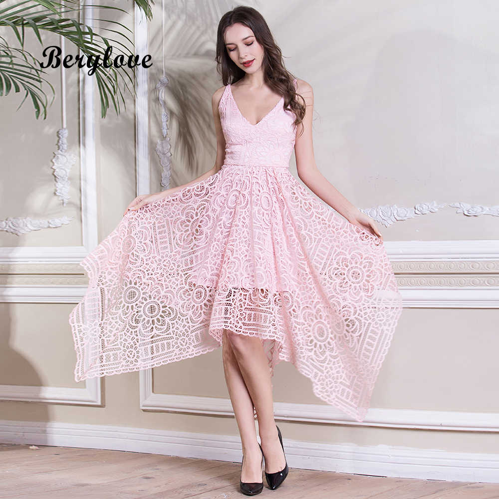 c45f34ed332 BeryLove Simple Tea Length Pink Lace Prom Dresses Short 2018 Women Special  Party Dresses Cheap Prom