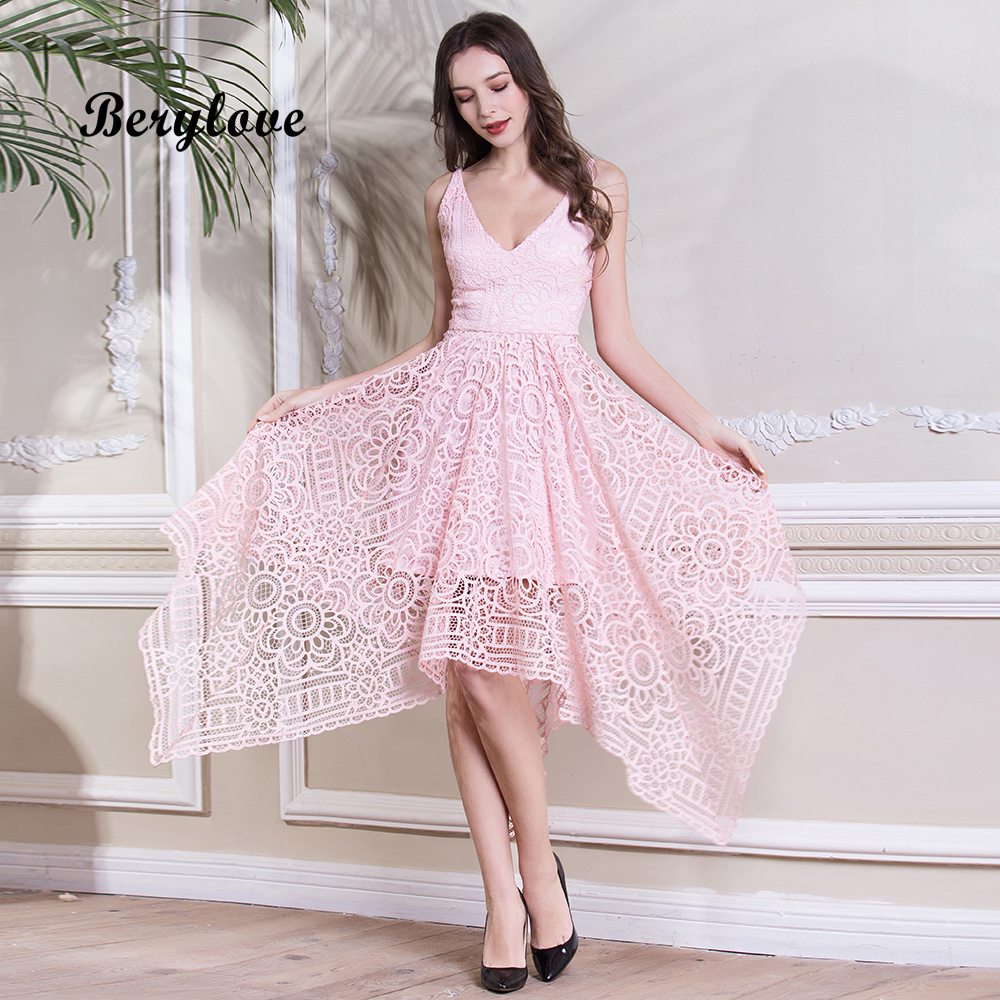 Berylove Simple Tea Length Pink Lace Prom Dresses Short 2018 Women