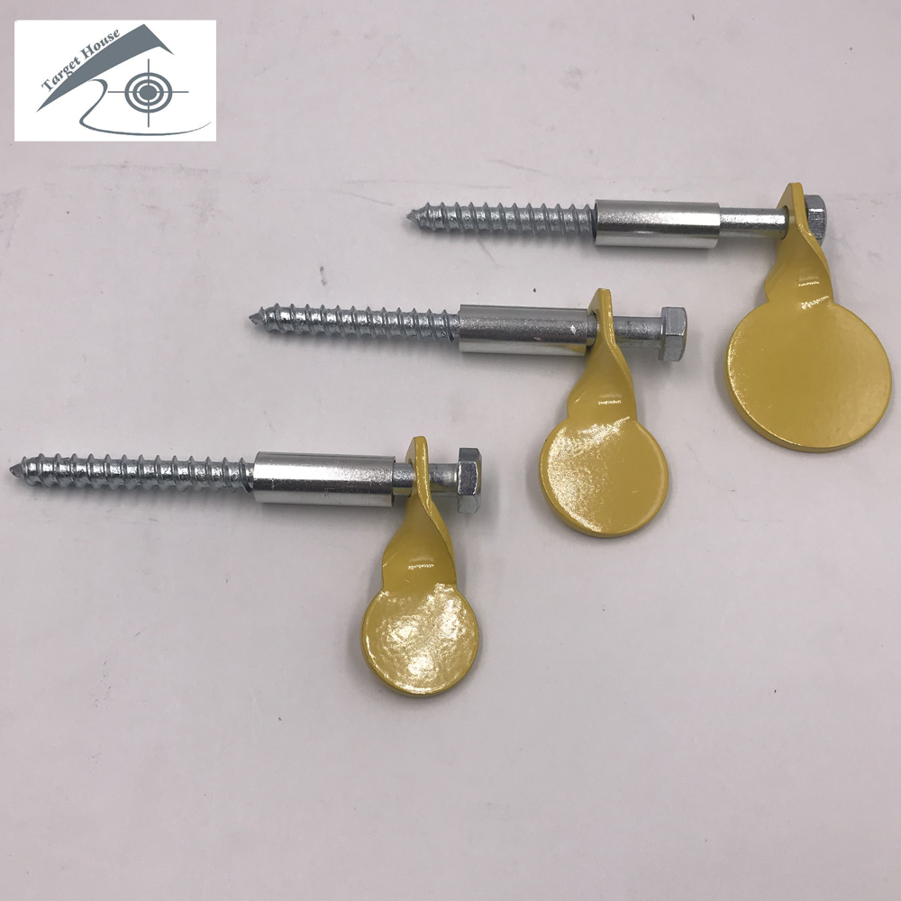 3 Yellow Target Plates Of Different Size With Screws.