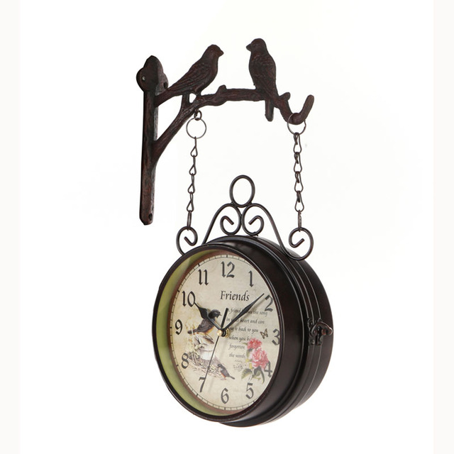 Wrought Iron Klok Double Sided Wall Clock Vintage Watch Retro Saat Relogio Parede Digital Reloj Mural Duvar Saati Horloge Murale