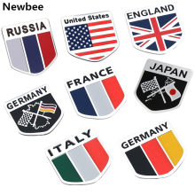 Voiture Auto motos ATV vélos italie/angleterre/allemand/France/russie/USA drapeau Logo emblème National Grille Badge autocollant(China)