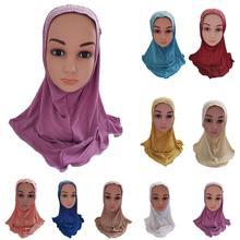 Nieuwe Een Stuk Amira Moslim Kids Meisjes Hijab Strass Kwastje Sjaal Wrap Islamitische Hoofddoek Arabische Gebed Hoed Cap Hoofddeksels