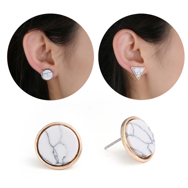 1 Pair Trendy Earring Fashion Gold Square Round Geometric Marbled White Faux Stone Stud Earrings For