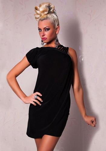 5bb98cd245 2014 Hot Sale One Shoulder Mini Black Dress 3S2107 +Free shipping one  shoulder clubwear Sexy clubwear dress