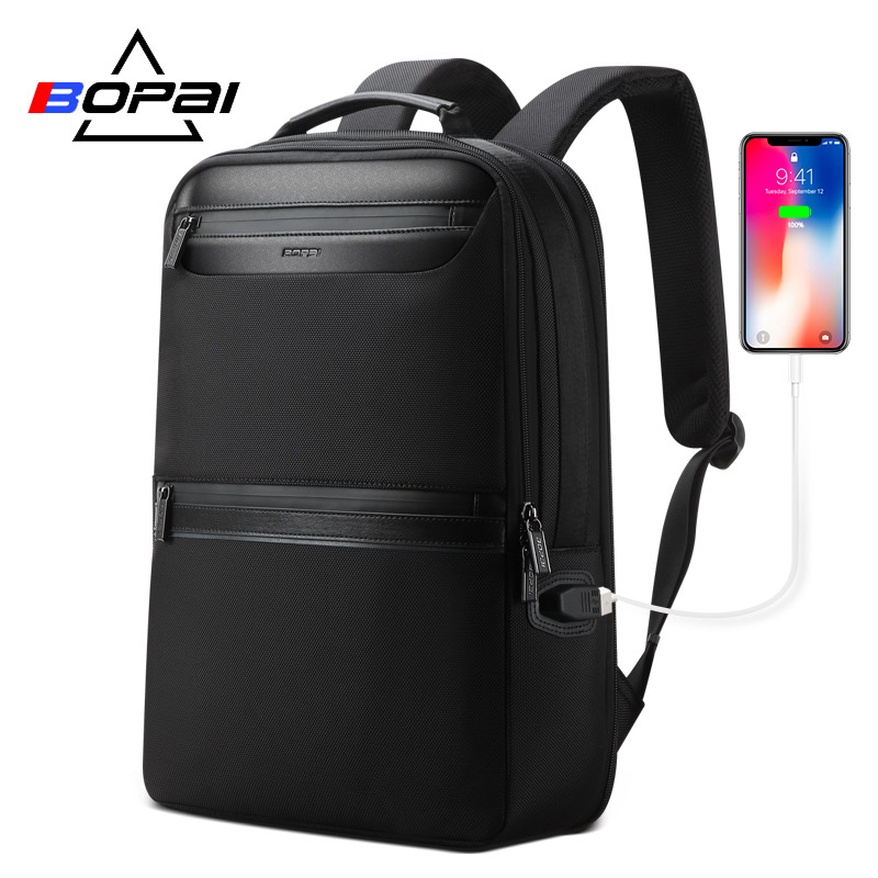 BOPAI Black Backpack Male Waterproof Zipper For Front Bag Men Business Travel Backpack 15 6 Inch