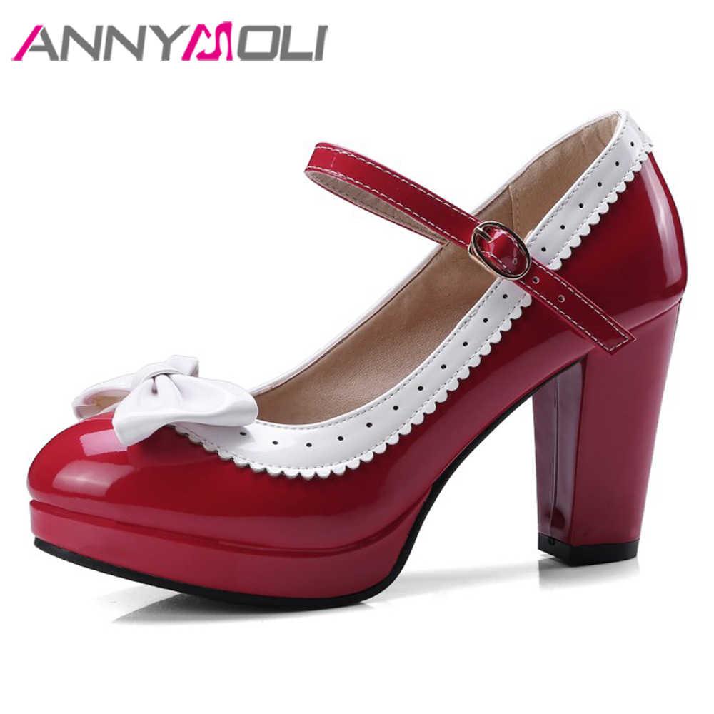 ANNYMOLI Mary Janes Shoes Women High