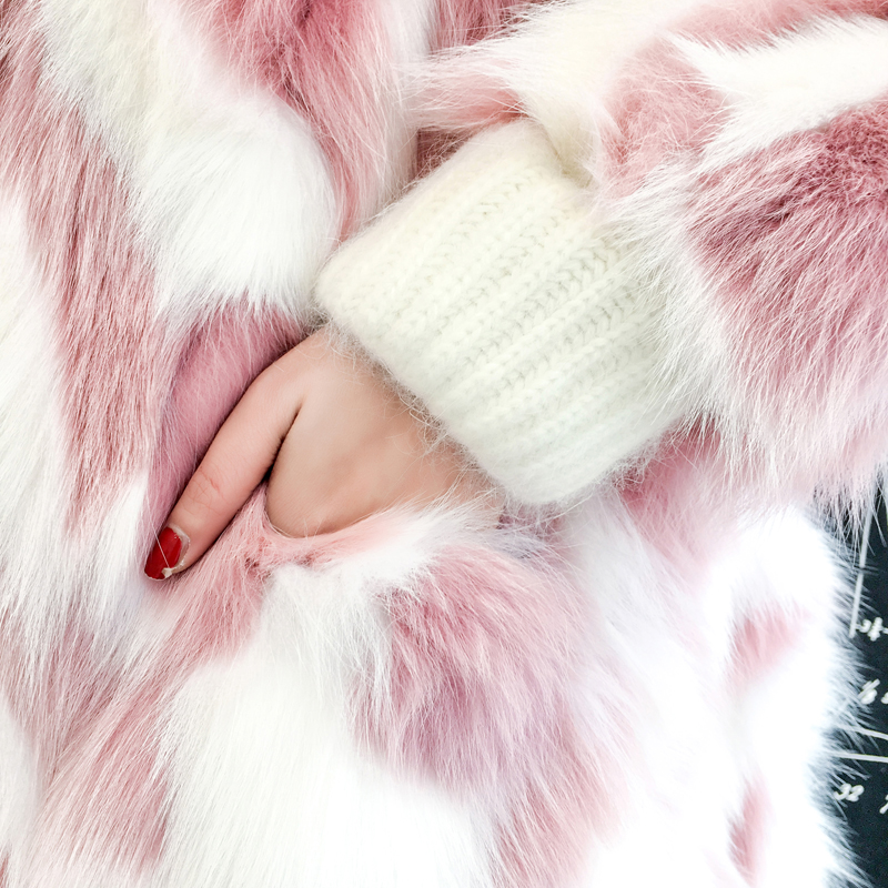 Manteaux long Longue 2018 green pink Chaude long Blanc green Épaissir Veste Pink Hiver Femmes Fourrure Moelleux Extra Manteau Rose short Fausse De Renard Chaud Pardessus short xAv4Ydvq