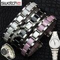 Correa especial de Interfaz para la marca wathes Mujeres Niños 17 MM Plata envoltura de acero Inoxidable Negro reloj de cerámica pulseras de Moda