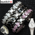 Special strap Interface for brand wathes Women Children 17MM Silver Stainless steel wrap Black ceramic watch bracelets Fashion