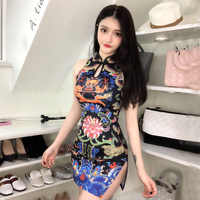 Chinese Retro Fashion Dragon Totem Printing Dress Sleeveless Split Slim Cheongsam Dress High Collar Short Mini Sexy Club Dresses