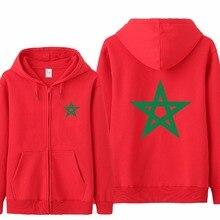 Omnitee di Nuovo Modo Marocco Bandiera Felpe Tuta Da Uomo Casual Marocco Felpa In Pile di Autunno del Rivestimento Della Chiusura Lampo Pullover