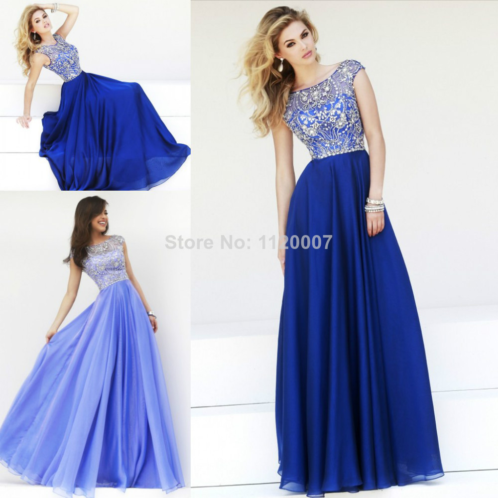 Royal Blue Lilac Modest Long Prom Dresses 2014 Cap Sleeves