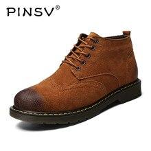 PINSV Lace-Up Men Shoes Casual High Quality Leather Brogue Shoes Men Boots Excellent Suture Male Shoes Plus Size 38-46