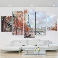 파리 디자인 5 패널 캔버스 그림 벽 예술 거실 포스터 및 인쇄 Unframe 5 개 캔버스 아트 Dropshipping