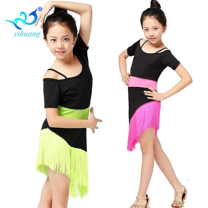 0141ce9b0 Children Latin Dance Costume Dress Girls Kids Ballroom Salsa Samba Rumba  Performance Dresses Cha Cha Tango Dancewear Outfits