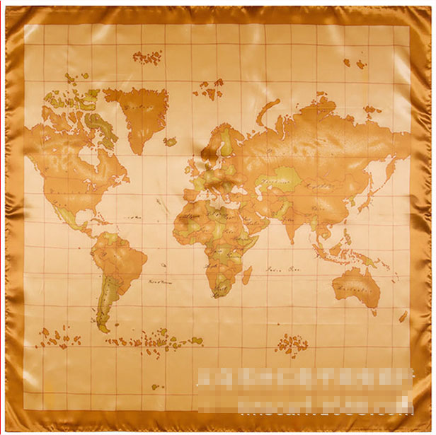 2017 Square silk   scarf   women 90*90cm Chinese characteristic silk gift world map large ladies   scarves     wraps   hijab