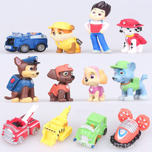 12Pcs/lot Russian Cartoon Canine Patrol Puppy Dog Toys Car Action Figures Doll Model for Kids Gift Patrulla Canina juguetes