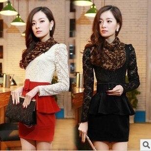 Free shipping 2013 autumn women's sweet lace shirt slim sexy beauty twinset casual dress 0220511309