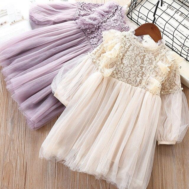 2019スウィートガールレースメッシュ長袖プリンセスドレスキッズファッションパーティー誕生日のドレス子供服