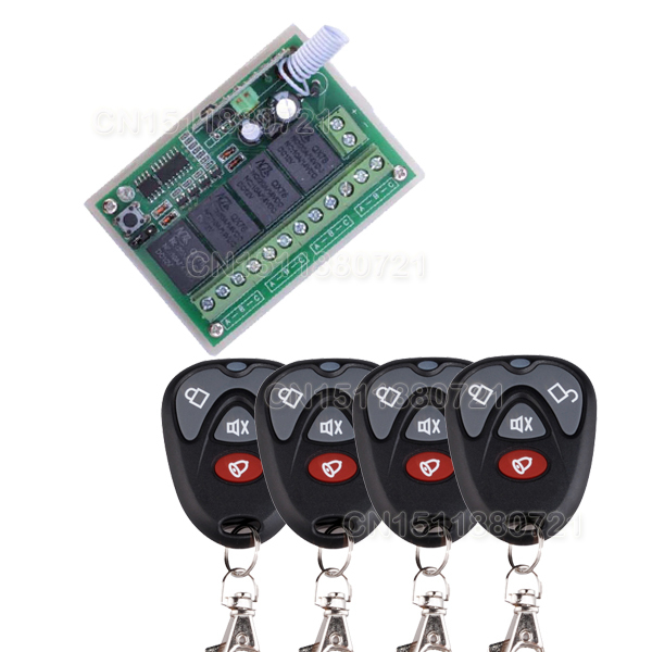 12V 4CH (Channel) Wireless Remote Control Switch System Receiver &4 Transmitter Working Way is adjustable garage door /lamp restaurant pager wireless calling system 1pcs receiver host 4pcs watch receiver 1pcs signal repeater 42pcs call button f3285c
