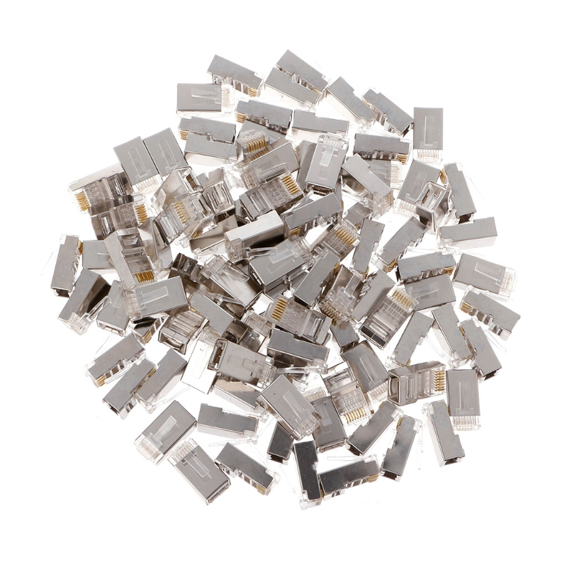 100Pcs Network Crystal Plug Cat6 8-Pin RJ45 8P8C Shielded Stranded Crimp Modular Plug Connector Socket 100pcs rj11 4p4c female pcb mount modular plug jack network connector 4p grey