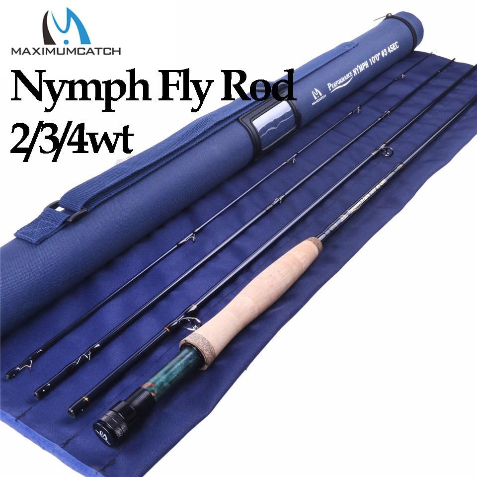 Maximumcatch 2/3/4WT Ninfa Voar Vara De Pesca IM10/36 T De Fibra De Carbono Grafite 10/11FT moderado Ninfa Voar Vara de Ação Rápida