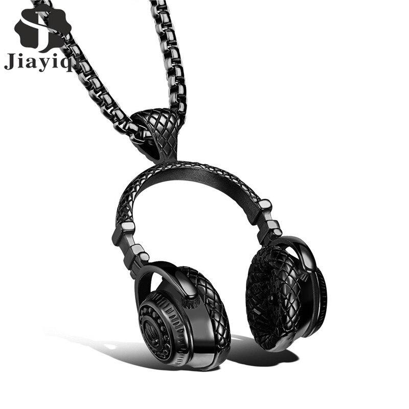 Prix pour Jiayiqi 2017 Acier Inoxydable Musique Casque Pendentif Collier Collier Mâle Hip Hop Rock Bijoux pour Hommes Or/Noir/argent Couleur