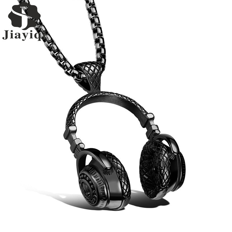 2017 Stainless Steel Music Headphones Pendant Necklace Collar Male Hop Rock Jewelry for Men Gold/Black/Silver Color