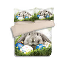 Sweet Rabbit 3D Printed Comforter Bedding Sets Twin Full Queen King Size Quilt/Duvet Cover 3pc Children's Girls Bed Linens Green(China)