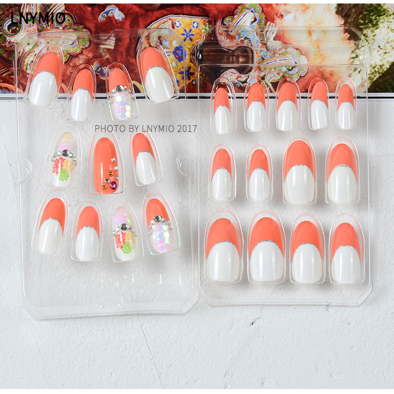 Decoration fake nails french nail tips with flower pattern and ...