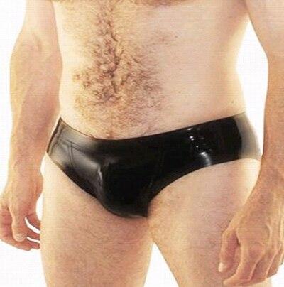 Mode Sexig Svart Latex Kortbyxor Shorts Män Natrual Gummi Man Underkläder Underkläder Plus Storlek Hot Sale