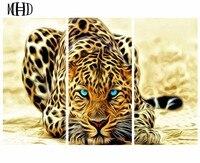 ARTBACK 3 spell diamonds leopard triple stitch stickers drill big cat painting round diamonds & full drill home decoration kit