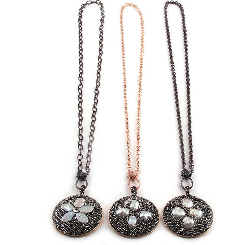 Moda Bohemia Tribal cadena larga, joyería Micro Zircon Pave Cierre de langosta círculo colgante perla Retro cuello mujeres collar