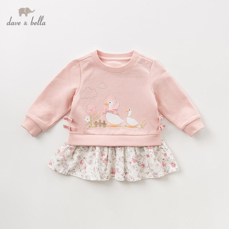 DBQ11118 dave bella autumn baby girls floral cartoon T-shirt children long sleeve tops girls cute pullover kids fashion tees