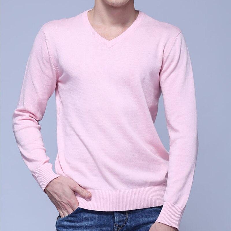 100% Baumwolle Frühling Und Herbst Männlichen Langarm V-ausschnitt Stricken Pullover Einfarbig Herren Casual Pullover Mode Schlanke Herren Tops