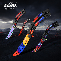 CIMA Practice Folding Knife Counter Strike Claw Karambit Knife Butterfly Trainer Game Knife Dull Blade No