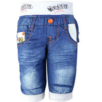 Boys Jeans Children Shorts Letters Pattern Embroidery Elastic Waist Kids Shorts Pants LL 517