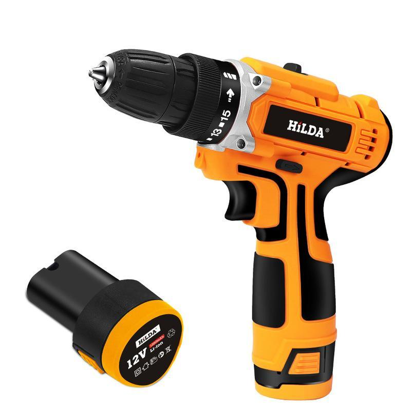 Hilda 12V Electric Cordless Screwdriver Drill Strong Torque Electric Drilling Machine Mini Hand Drill Wireless Power Tool