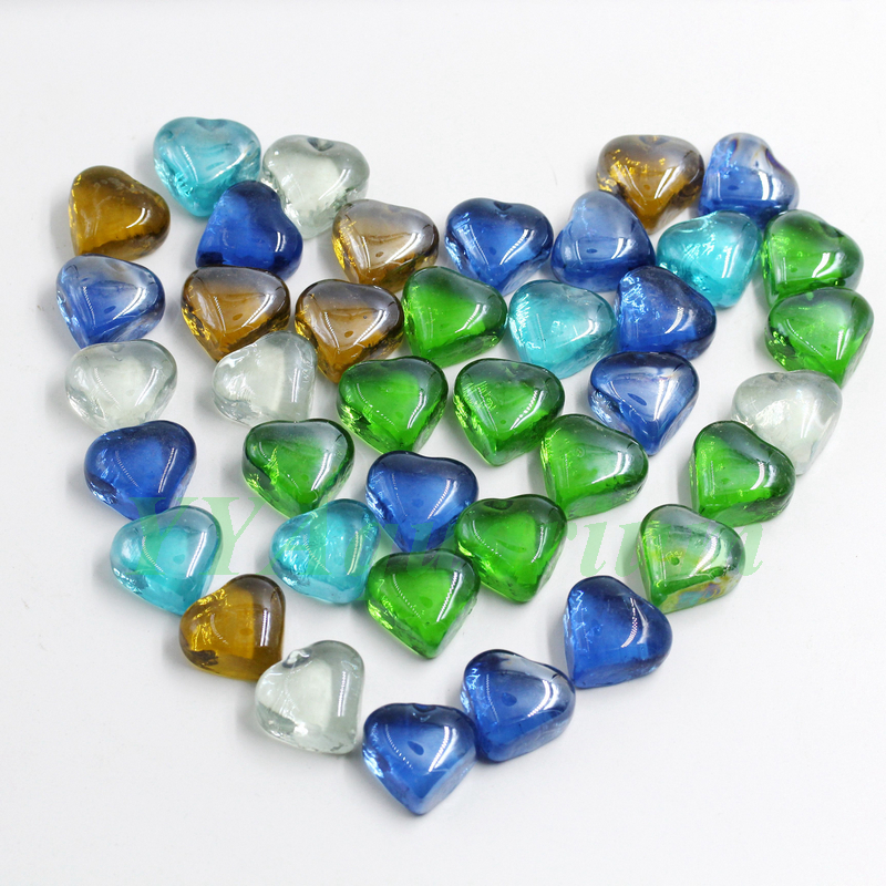 250g Lot Colored Heart Crystal Stone Transparent Glass