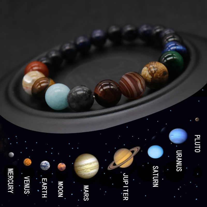 2019 שמונה כוכבי לכת חרוז צמיד גברים טבעי אבן יקום יוגה צ 'אקרת שמש מערכת צמיד לגברים תכשיטי זרוק חינם MY3